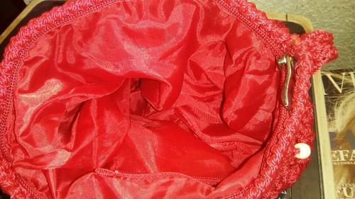 bolsa a crochet roja