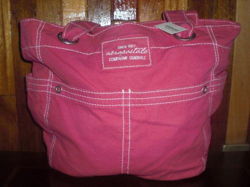 bolsa aeropostale color rosa material gabardina