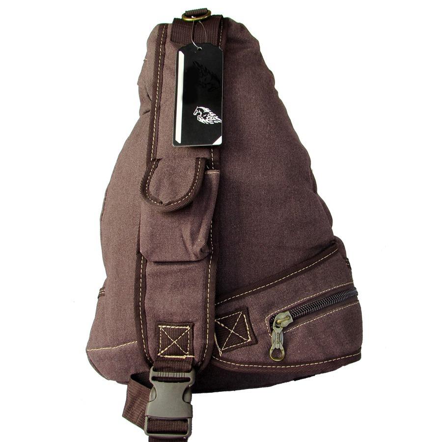 fb65ac4ead Carregando zoom... mochila bolsa lona alça transversal masculina feminina