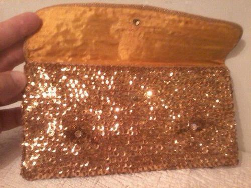 bolsa antiga anos 70 lantejoulas douradas 11x 21cm