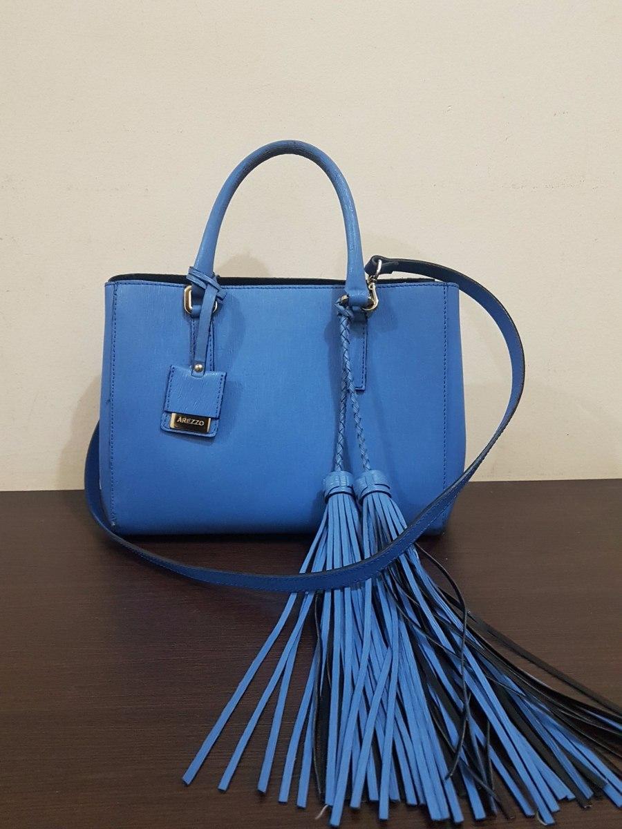 c364d19f04 Bolsa Arezzo Hanna Azul Com Franjas Original Usado - R  300