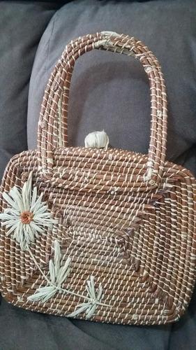 bolsa artesanal maleta praia palha