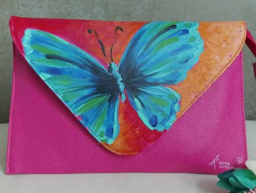 bolsa artesanal pintado a mano clutch correa larga y corta