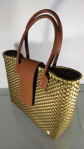 bolsa artesanal plástico tejido asas piel dora med. 31x40x14