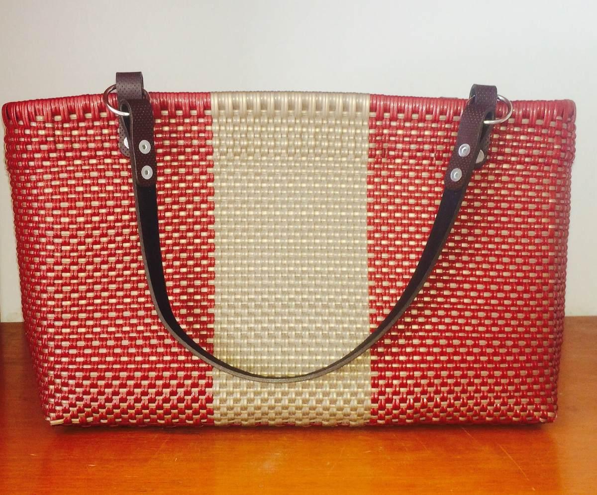 Bolsa artesanal tejido de pl stico en mercado - Bolsa para guardar agujas de tejer ...