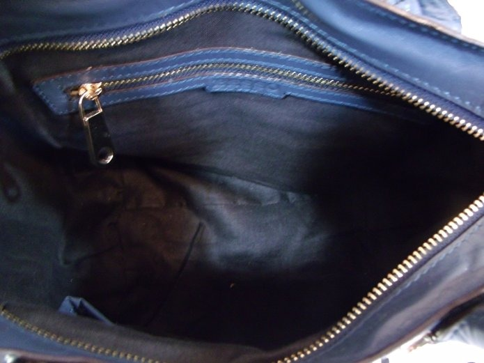 Bolsa Besso Blue Leather Luxury Italian Handbag Shoulder Fe