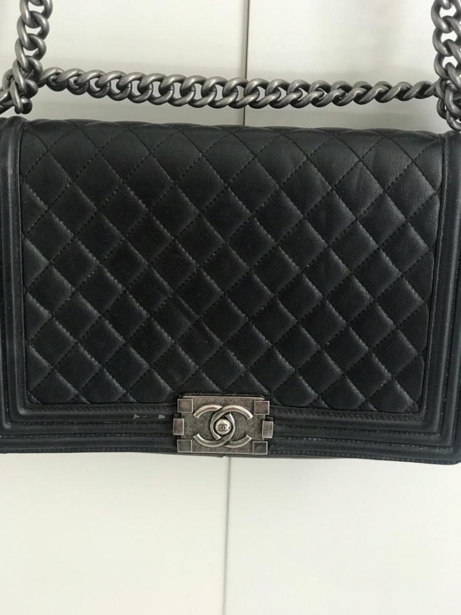 fc70c852f Bolsa Boy Chanel Preta Original C/ Cartão De Autenticidade - R ...