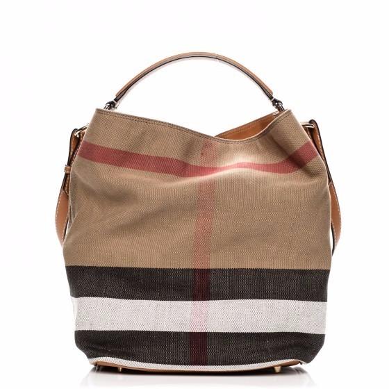 Bolsa Feminina Em Tecido : Bolsa burberry hobo feminina tecido e couro pronta