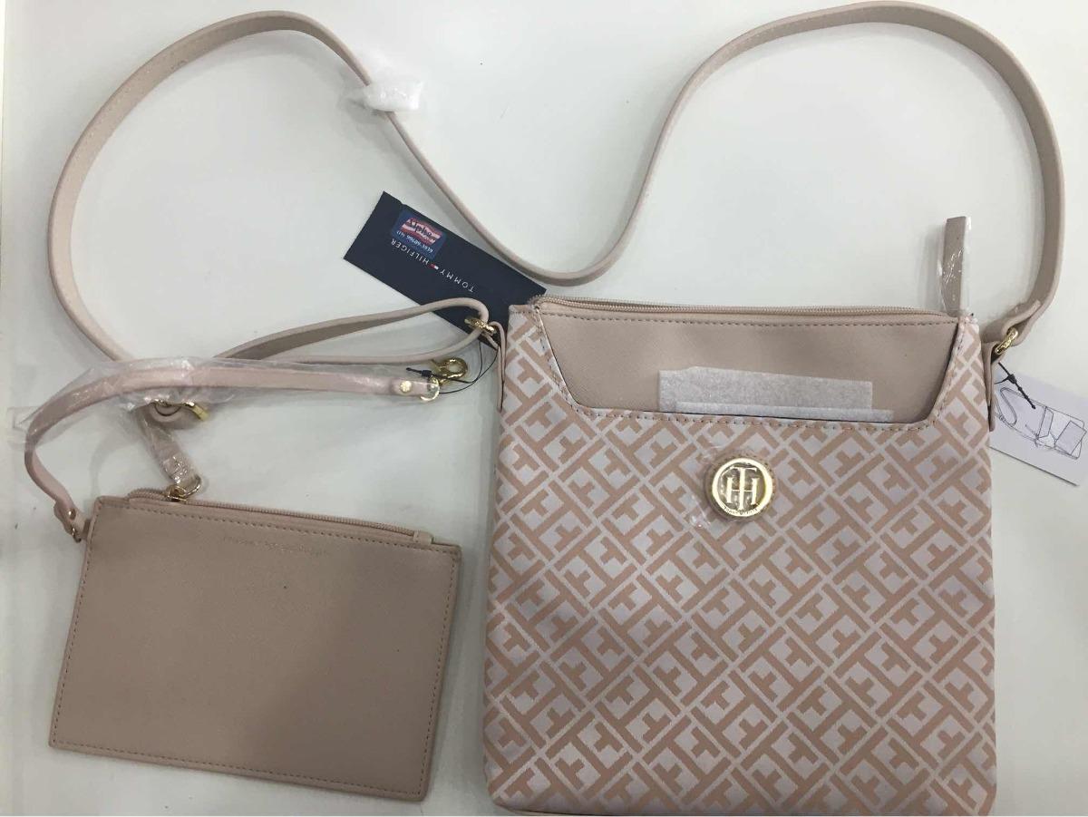 3fc837486 bolsa c/ carteira tommy hilfiger feminina rosé e branca. Carregando zoom.