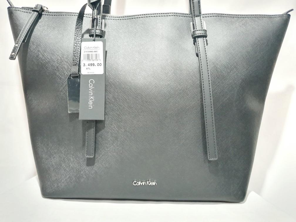Grande Piel Bolsa De Nueva Klein Y Calvin Original Ck Negra FJl1Kc