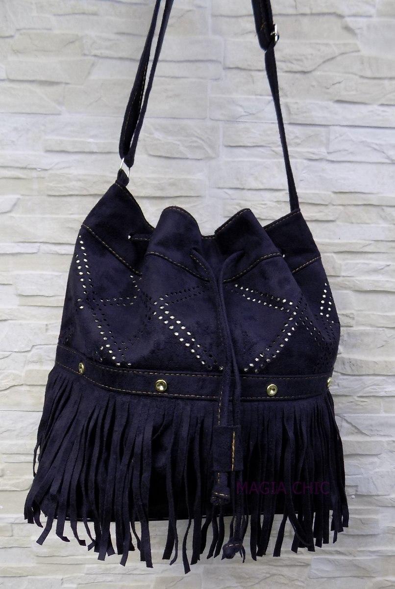 3d7f249e2 bolsa camurça veludo saco feminina com franja spike recortes. Carregando  zoom.