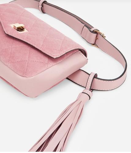 bolsa cangurera tipo gucci rosa terciopelo de moda