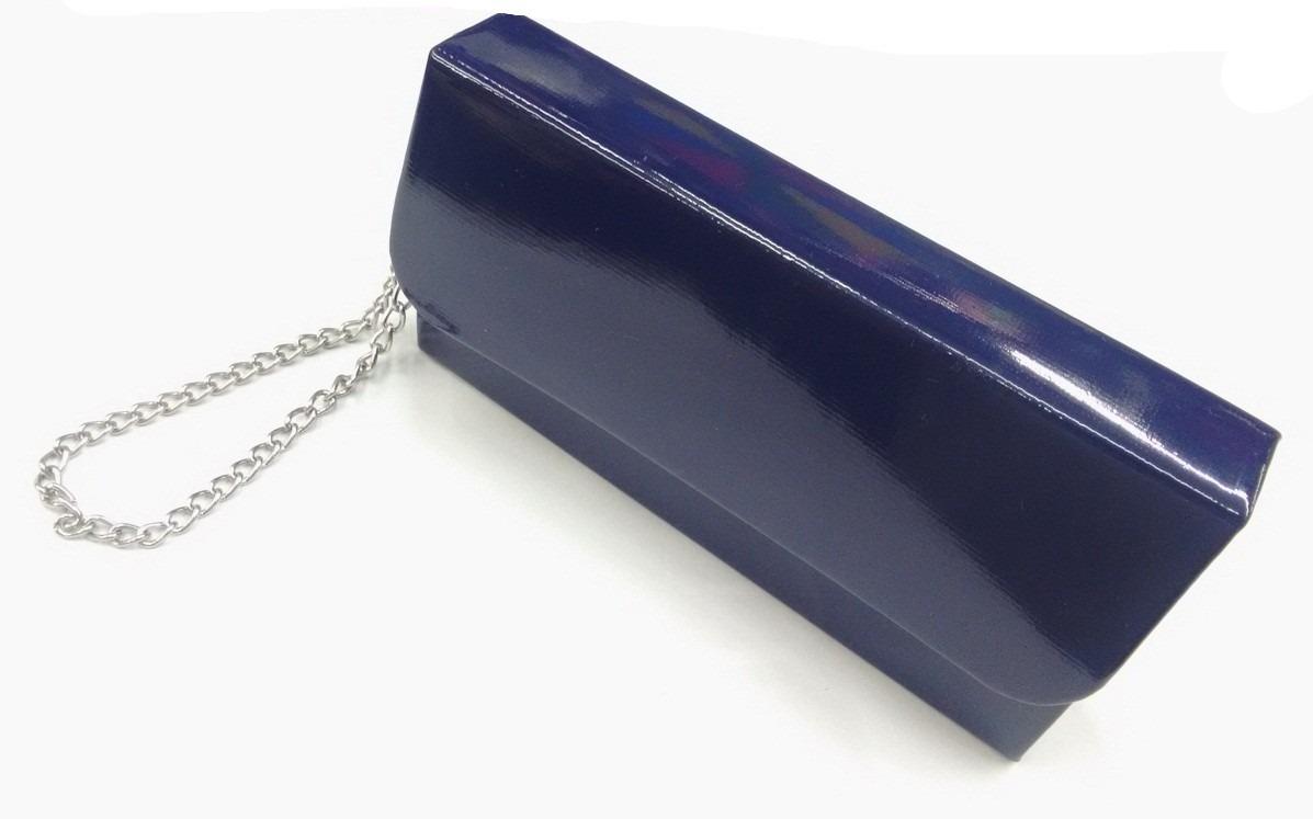 84c95a1152 bolsa carteira clutch festa bolsinha casamento azul verniz p. Carregando  zoom.