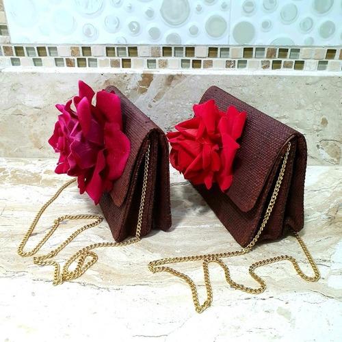 bolsa carteira de palha com flor - varal