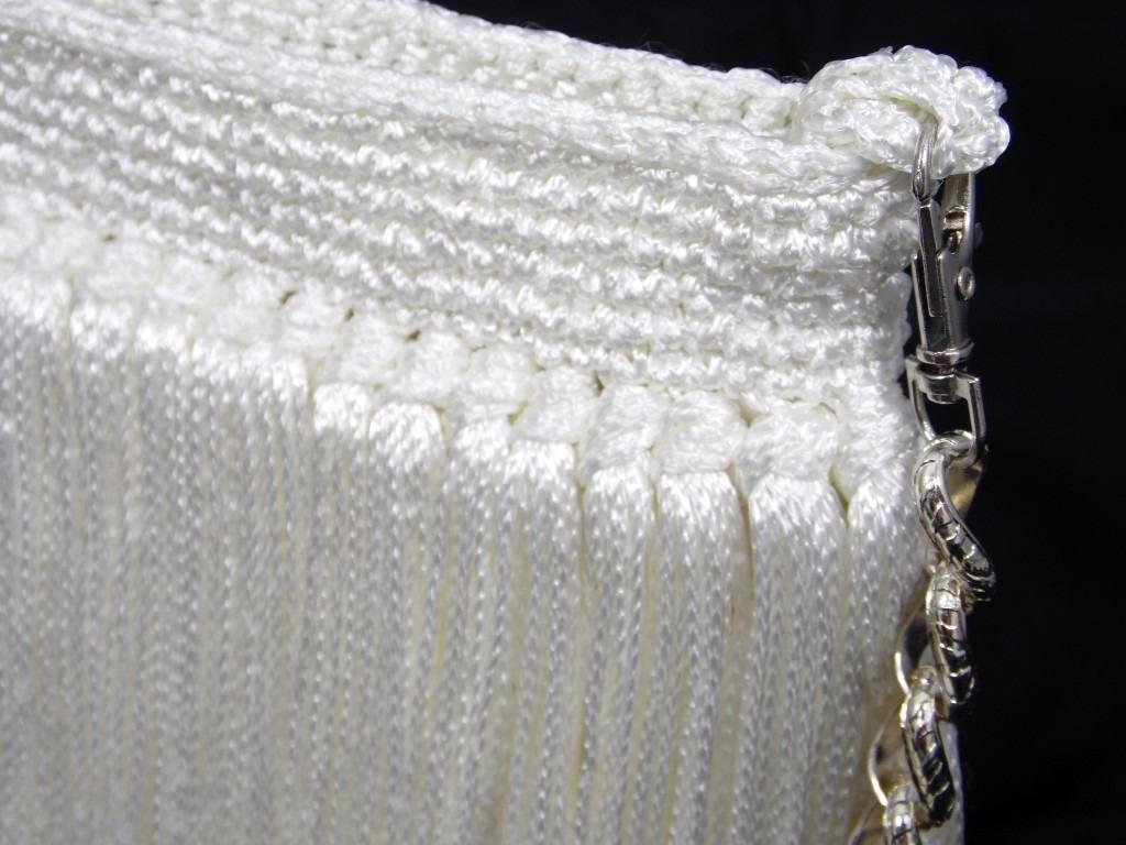 Bolsa De Festa Branca : Bolsa carteira em croch? p festa com franjas branca r