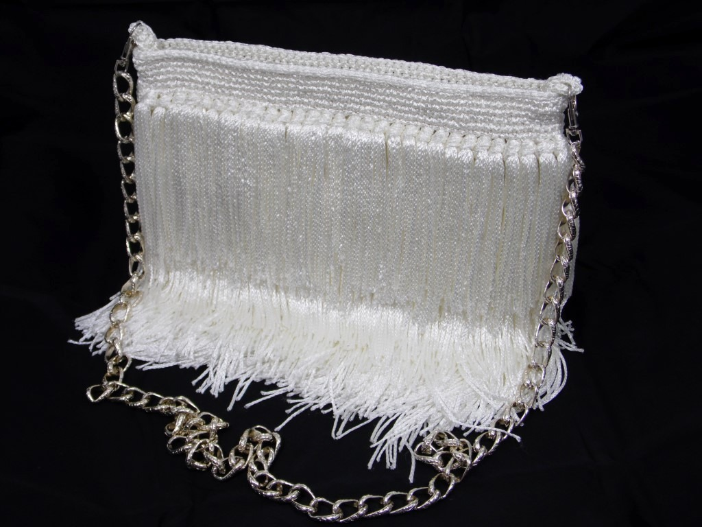 Bolsa De Festa Com Franjas : Bolsa carteira em croch? p festa com franjas branca r