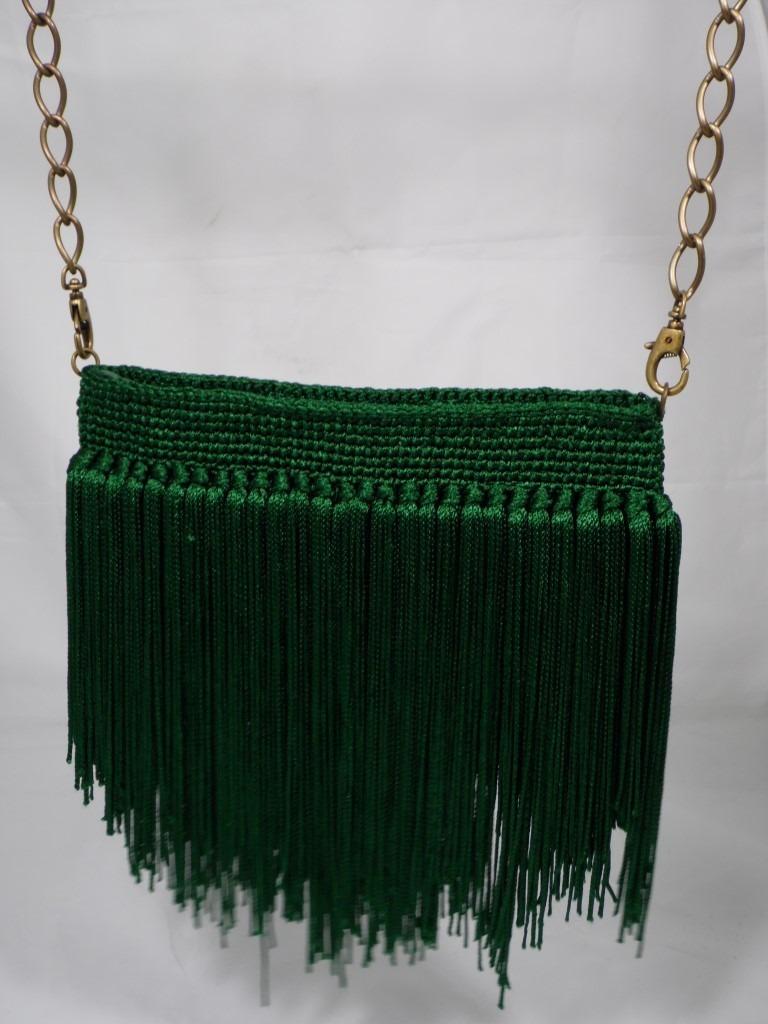 Bolsa De Festa Com Franjas : Bolsa carteira em croch? p festas com franjas verde r