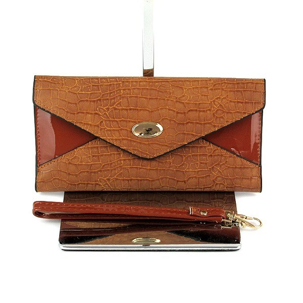 59cda09b7 Bolsa Carteira Feminina Couro Quadrada Envelope Marrom - R$ 39,00 em ...
