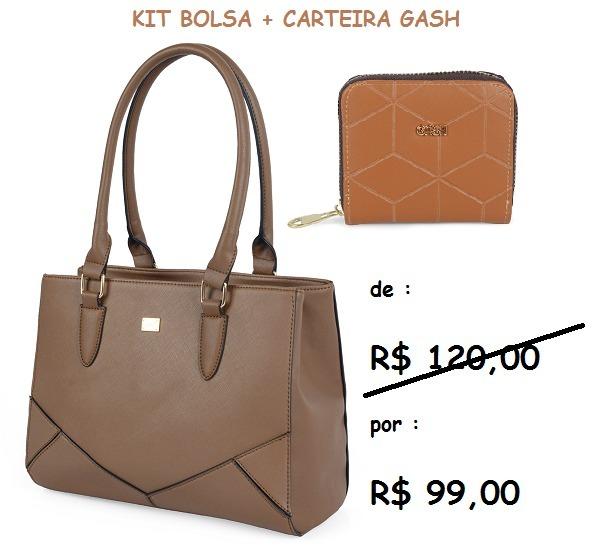 3d63d764d Bolsa+carteira Marrom Gash Kit 71194+27346 Kit Promoção! - R$ 99,00 ...
