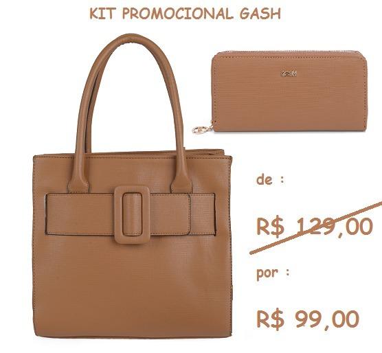 eac9791d4 Bolsa+carteira Marrom Gash Kit 71197-27444 Kit Promoção! - R$ 99,00 ...