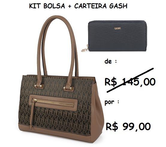 0d65bc1fc Bolsa+carteira Marrom-preto Gash Kit 71152+27444 Promoção! - R$ 99 ...