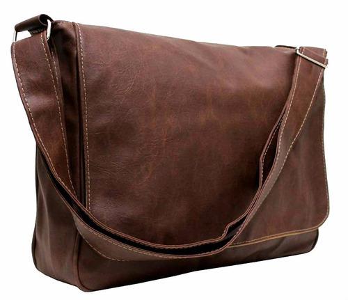 bolsa carteiro couro sintético marrom masculino feminino