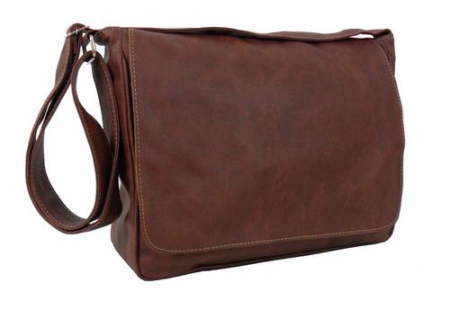 bolsa carteiro pasta tiracolo masculino fem couro sintético