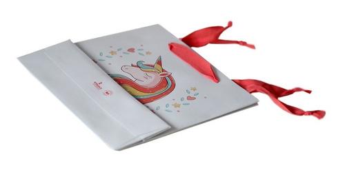 bolsa cartulina blanca unicornio 22x8x22 con manija x100 c