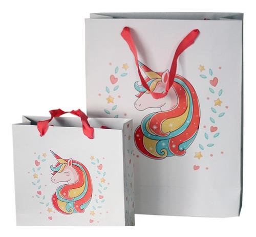 bolsa cartulina blanca unicornio 31x12x40 con manija x50