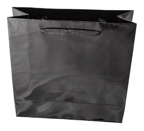 bolsa cartulina negra laminada 30x9x30 con manija x100 c
