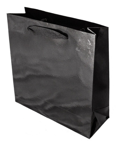 bolsa cartulina negra laminada 31x12x40 con manija x50