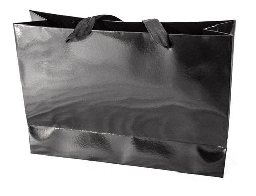 bolsa cartulina negra laminada 32x10x23 con manija x50 c