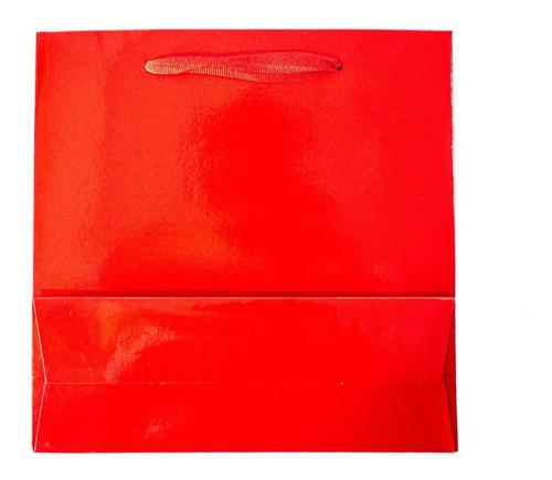 bolsa cartulina roja laminada 22x8x22 con manija x100 c