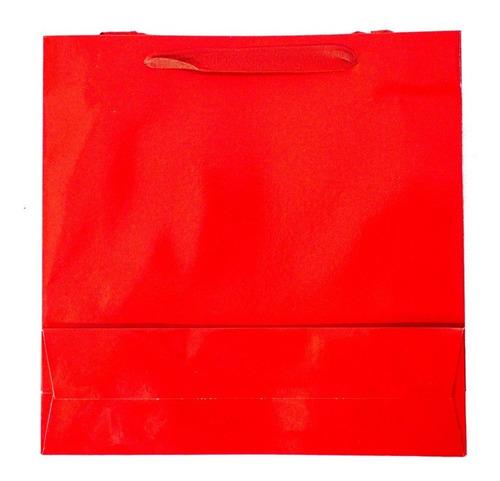 bolsa cartulina roja laminada 22x8x22 con manija x50