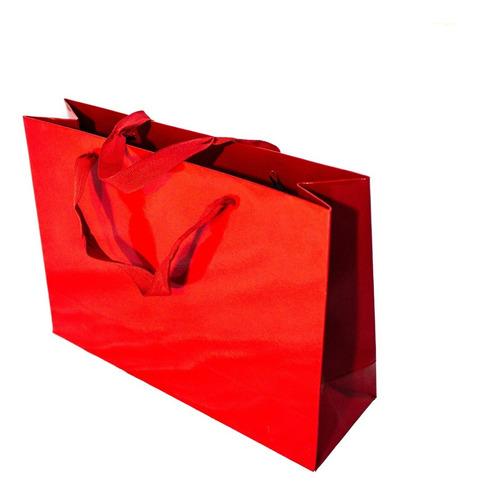 bolsa cartulina roja laminada 32x10x23 con manija x50 c