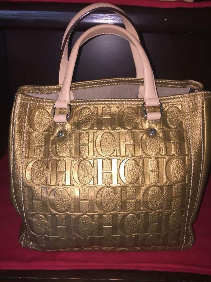 Carolina Dorada Certificad Ch Herrera Original Piel Bolsa De J3lK1cTF
