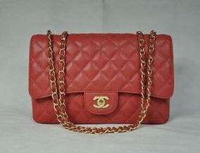4e42c4457 Malas Chanel - Bolsas de Couro Vermelho no Mercado Livre Brasil