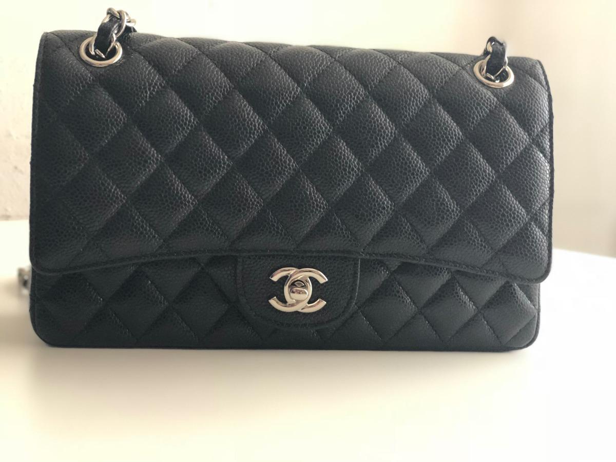 7cb4c56d0 bolsa chanel 2.55 (média) couro caviar original na caixa. Carregando zoom.
