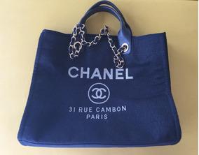 a5a47edc7 Bolsa De Praia Chanel Femininas - Bolsas de Couro Azul no Mercado ...
