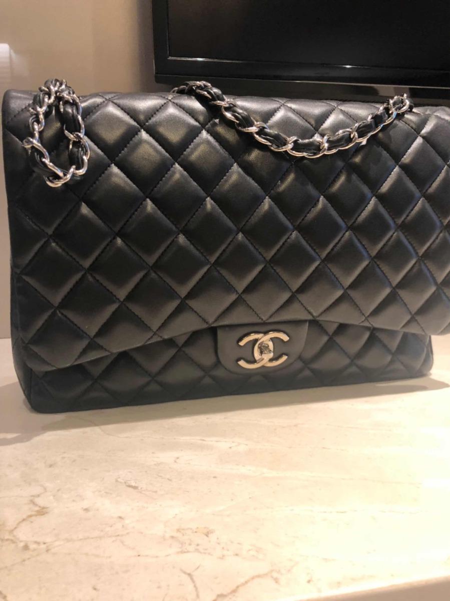 02c4a617e Bolsa Chanel- Classic Double Flap Jumbo Preta - R$ 19.899,00 em ...