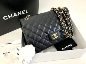 80eb64e30 Bolsa Chanel Coco Black Patent Flap Bag Golden 30 Cm - Bolsas ...