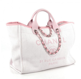 ee411e368 Bolsa Praia Chanel Original Femininas - Bolsas de Couro Rosa claro ...