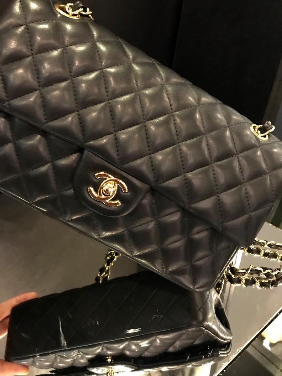 77dc34616 Bolsa Chanel Double Flap Original Preta Com Dourado - R$ 14.000,00 ...