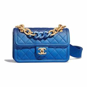 5134ac9c4 Bolsa Chanel Flap Degrade 2019 Azul Importada Pronta Entrega