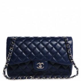 1611905ec Bolsa Chanel Jumbo Caviar Azul Couro Legítimo C / Código Top