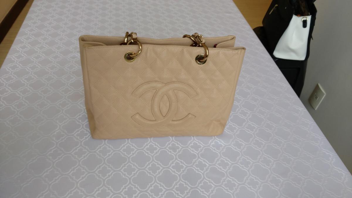 26e0c4c0f Bolsa Chanel Shopper Gst Couro Bege - R$ 1.680,00 em Mercado Livre