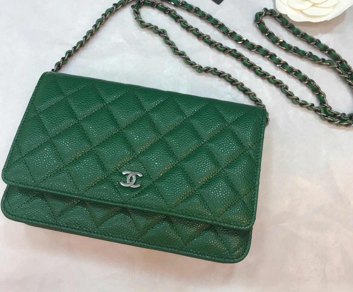 9f26b4293 Bolsa Chanel Woc Verde Couro Caviar Novo Original - R$ 1.958,20 em ...