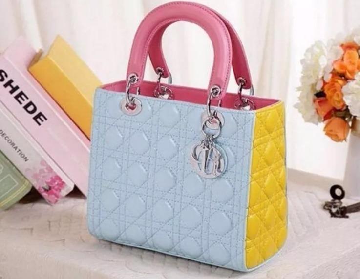 20e11910396 Bolsa Christian Dior Lady Di Azul Com Amarela Original 25cm - R ...