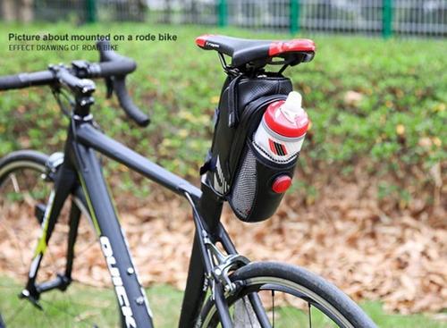 bolsa ciclismo bike selim impermeável luz traseira + brinde