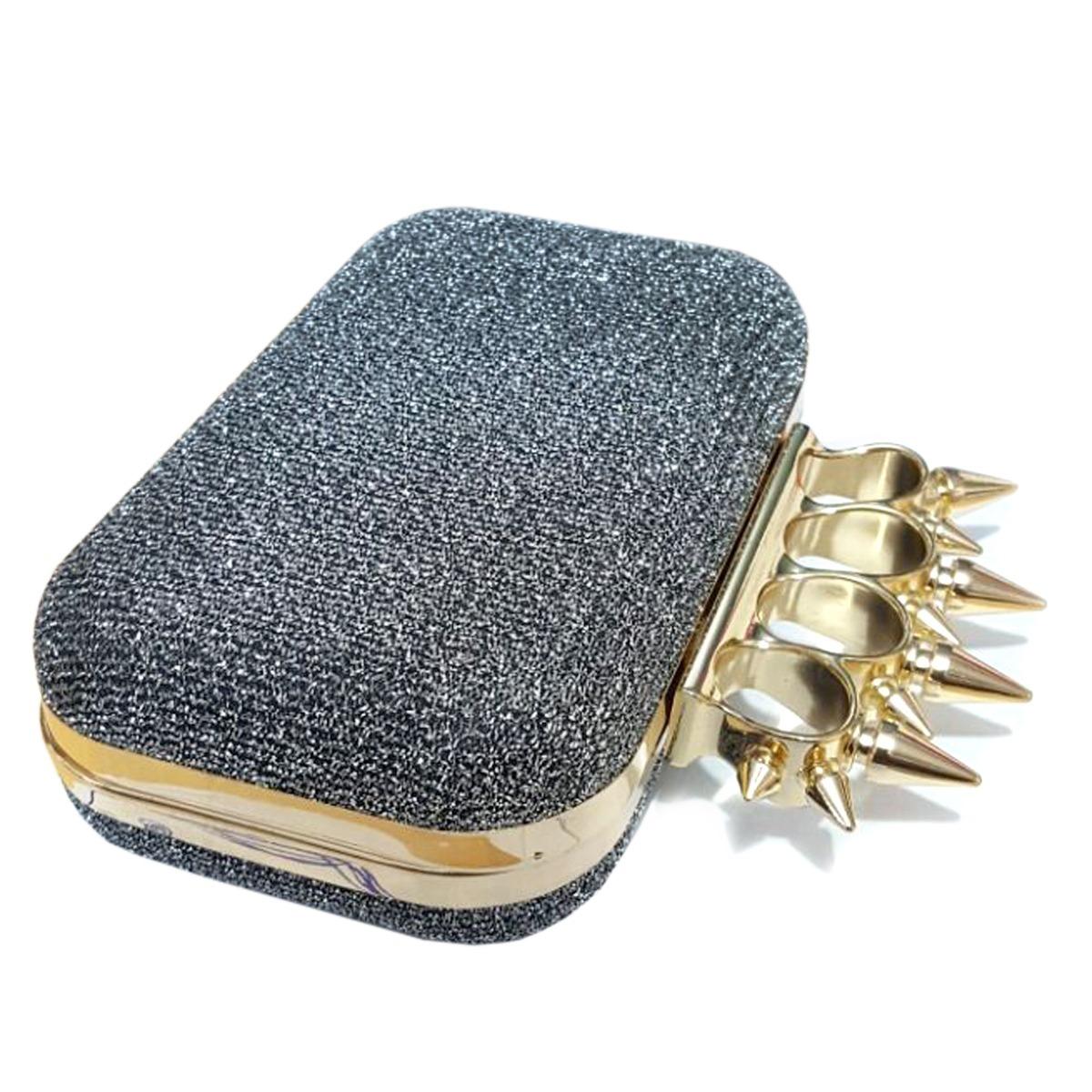 cd09a89ff6 Bolsa Clutch Carteira De Mão Spike Anel Soco Inglês Luxo - R  34